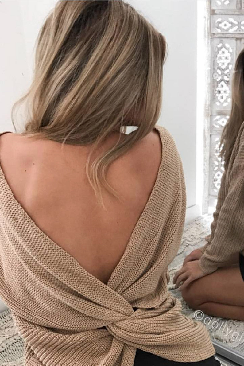 Karma Twist Knit in Camel - HER Empire Fashion Boutique Terrigal & Online