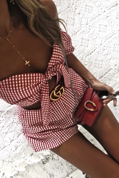 Paris Playsuit in Red Gingham