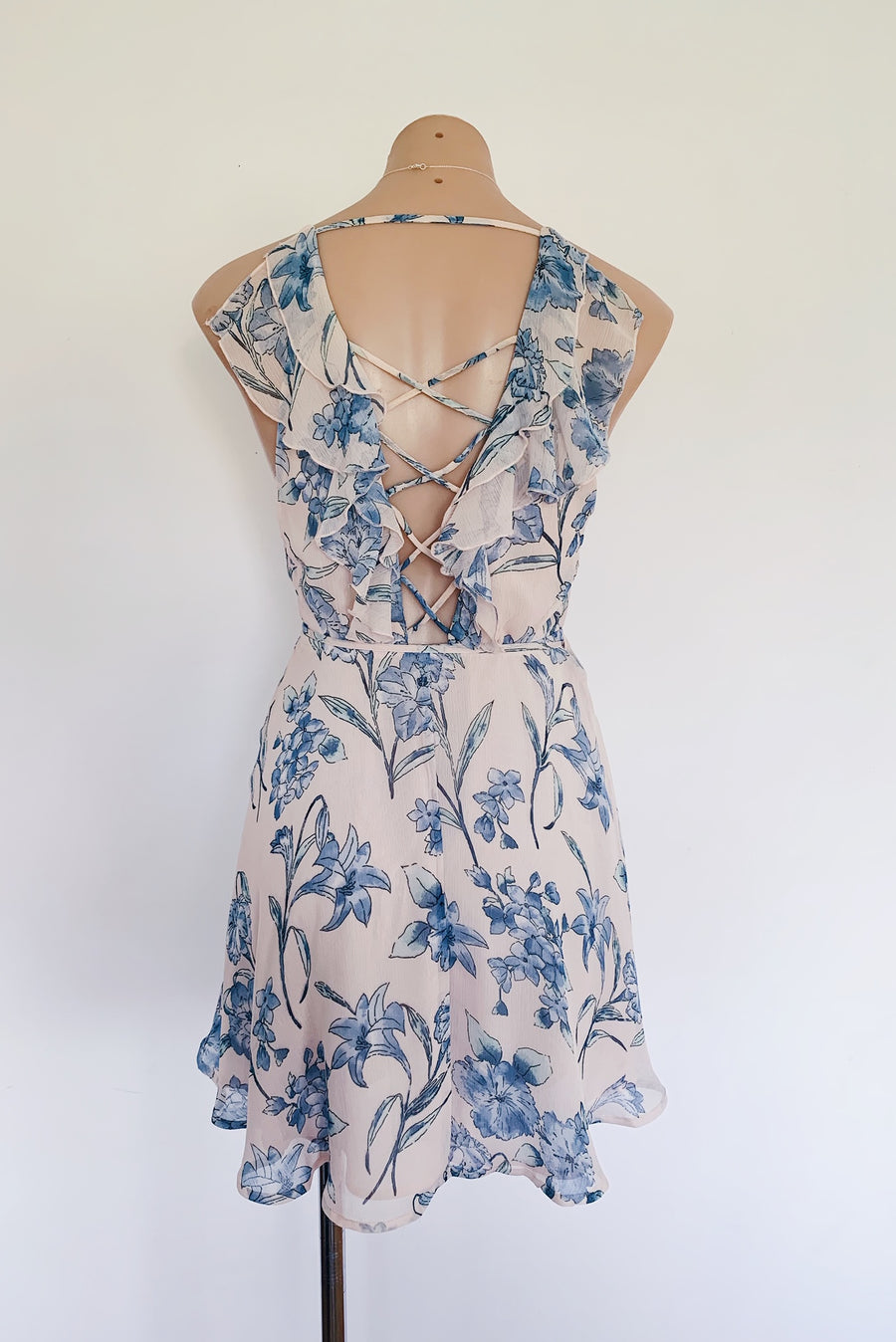 blue and pink floral spring summer dress