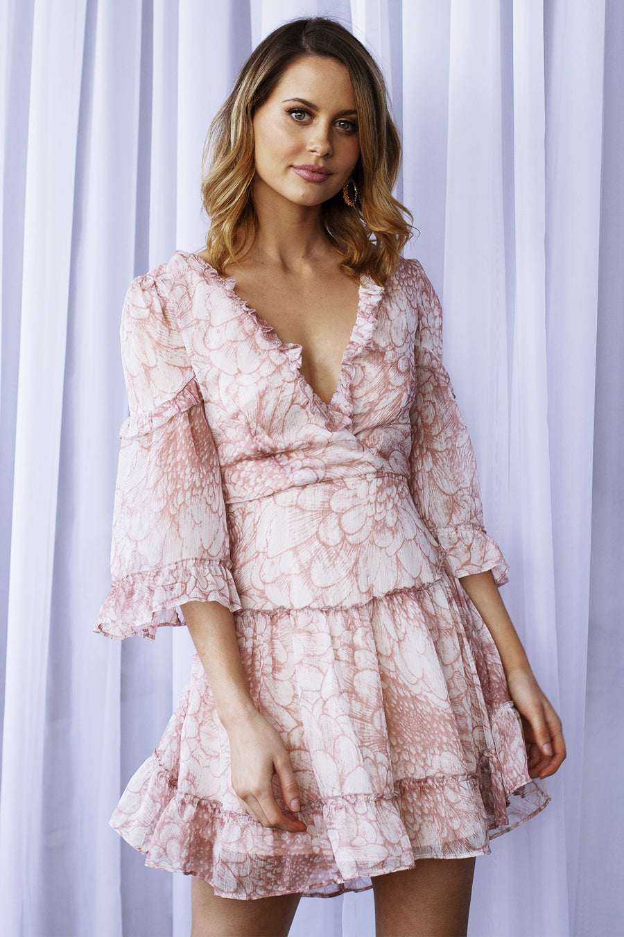 Pink print ruffle dress with lace up back