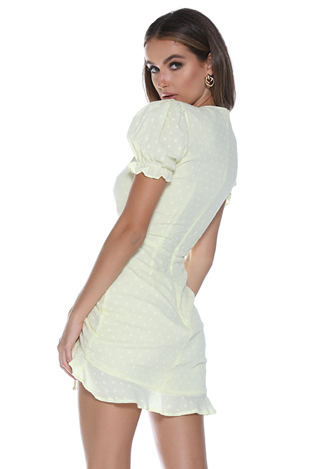 Ditsy Mini Dress - Lemon for $99.00