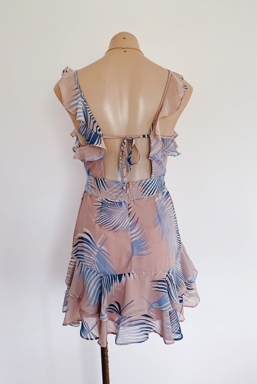 blush print dress with blue palm print