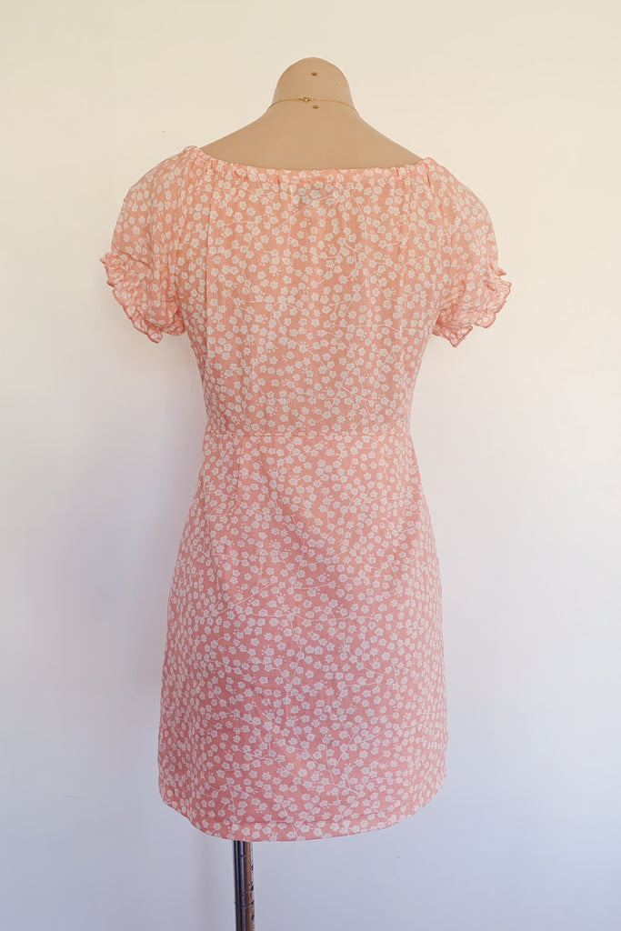 mini pink dress with capped sleeves