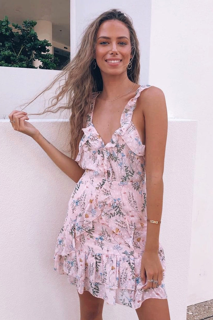 pink floral ruffle dress