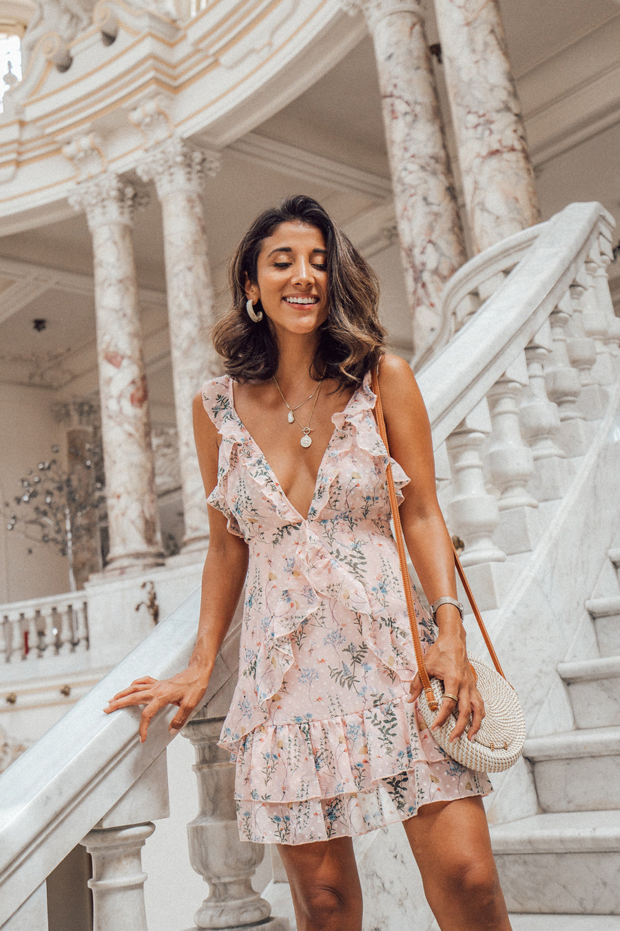 @maya_gypsy in our Sweet Escape pink floral dress