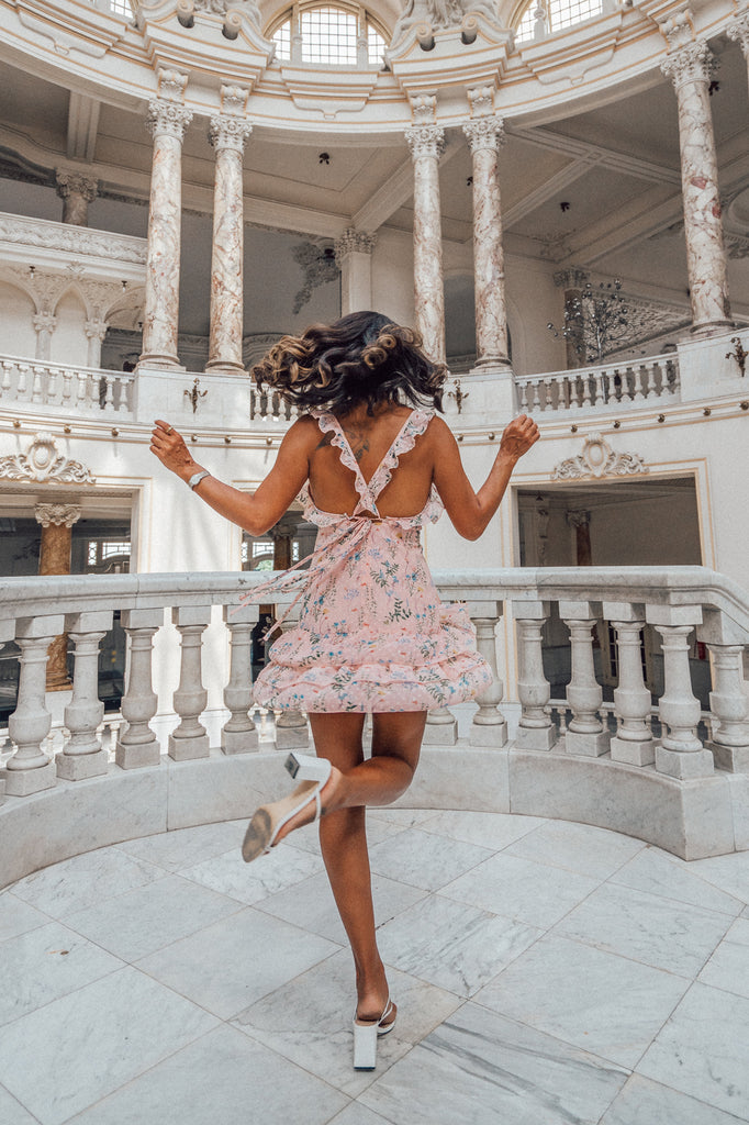 pink floral dress with criss cross back