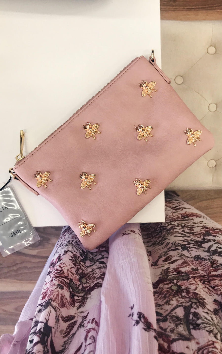Bee Clutch in Pastel Pink - HER Empire Fashion Boutique Terrigal & Online
