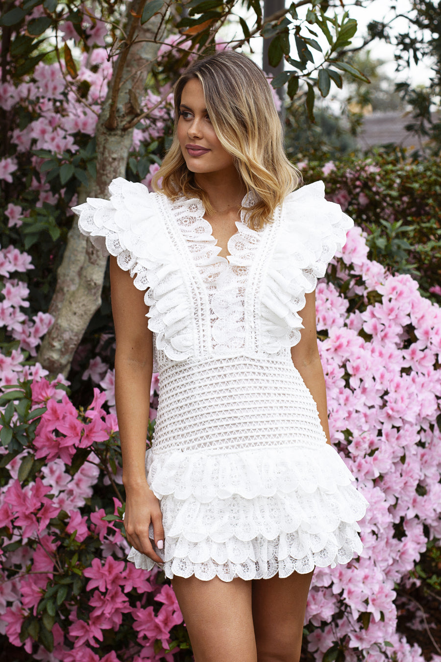 ruffle mini dress in white