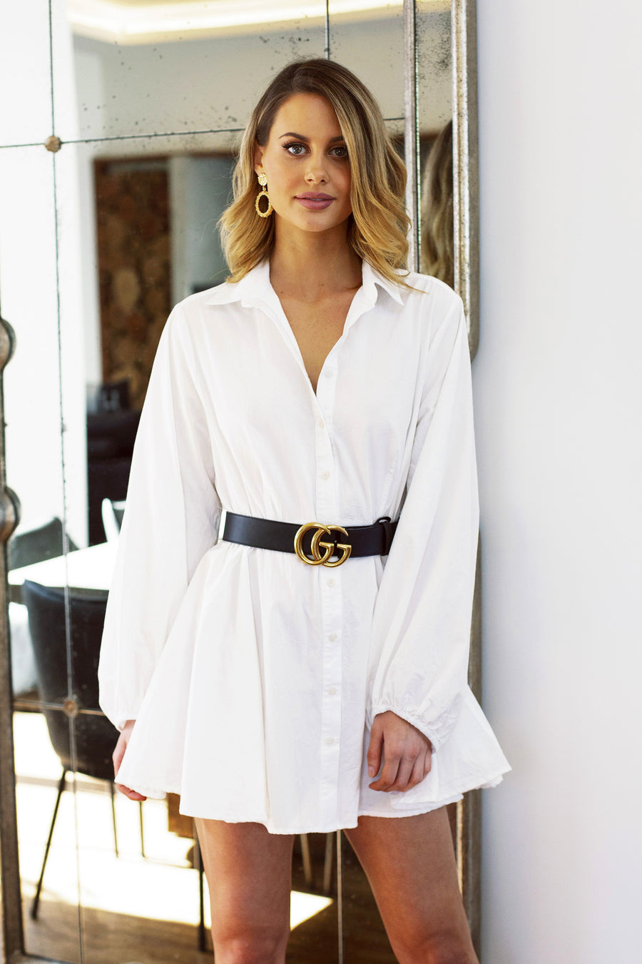 White shirt dress with billowing sleeves