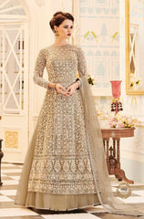 Beige Net Embroidered Abaya Style Anarkali Suit With Duaptta
