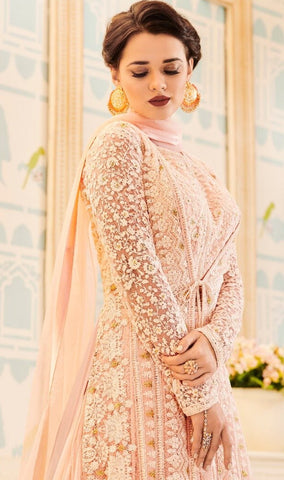 Peach Net Anarkali Dress With Dupatta