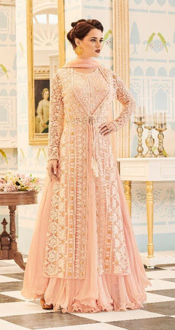 Peach,Net,Party wear designer suits