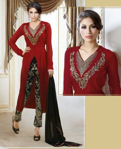 Maroon designer long suits with heavy embroidered work on black bottom