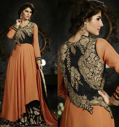 Suits Orange , Black,Georgette