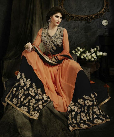 Heavy embroidered anarkali orange color long and semi stitched suits