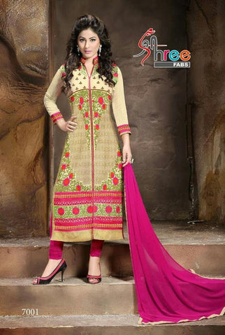 Straight embroidered knee length salwar suits with pink dupatta