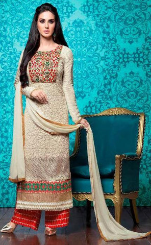 Beige , Red,Georgette,Designer suits,suits,party wear,salwar suits,wedding ,heavy suits,vipul
