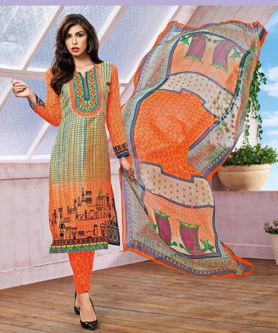 Printed salwar suits multi color dress material with bemberg dupatta
