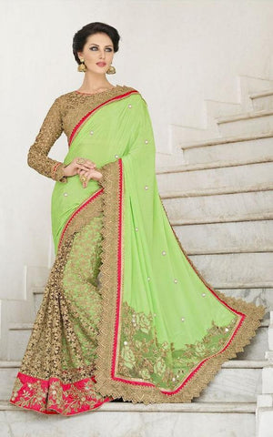 Sea Green,Georgette,Net,Heavy bridal wedding saree with heavy embroidery blouse