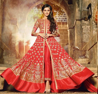 Red Party Anarkali Suit With Heavy Work