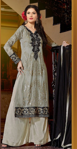 Designer grey knee length salwar suits with embroidered work