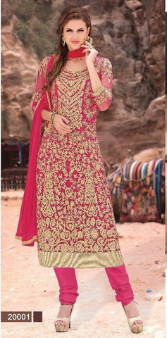 Heavy embroidery designer straight long pink suits with chiffon dupatta