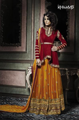 Lehenga Red , Yellow,Velvet
