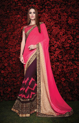 Designer Maroon Wine party wear jacquard saree with magenta pallu