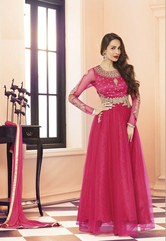 Pink long frock anarkali embroidered semi stitched  suits with ciffon dupatta