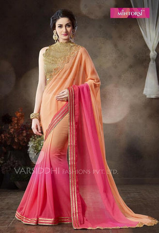 Saree Orange , Pink,Chiffon