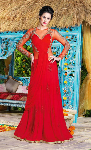Designer red long floor length heavy work embroidery anarkali gown