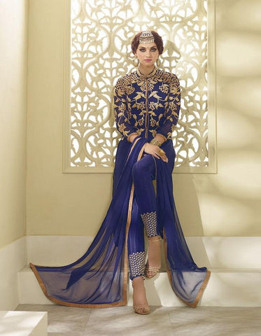 Blue designer long embroidered suits