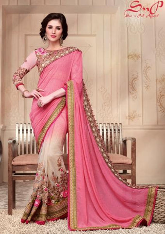 Designer pink and begie half half saree suitable for parties,dinner dates and festival celebration