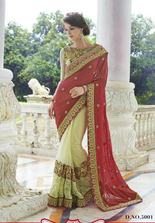 Red and Beige net georgette designer Saree for wedding and party