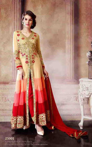Anarkali suitsBeige , Red,Fox georgette