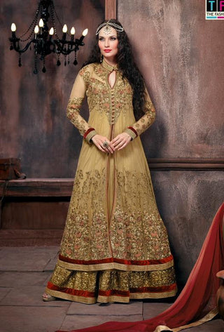 Designer anarkali suits heavy embroidered bridal semi stitched suits