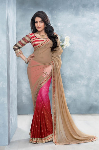 Saree Pink and beige,Georgette