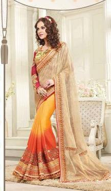 Orange , Beige,Pure crape,Designer heavy wedding purpose embroidery saree