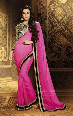 Saree :Jeq Bamber Sari With Art Silk Net Blouse,Saree : Pink,Blouse : Black