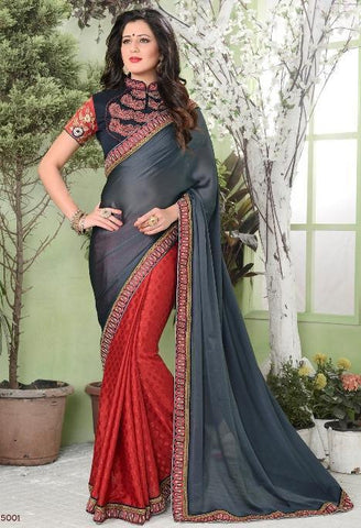 Red , Grey,Half Crepe , half jacquard,Designer party wear saree with designer blouse