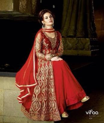 Anarkali red long suits with Chiffon dupatta