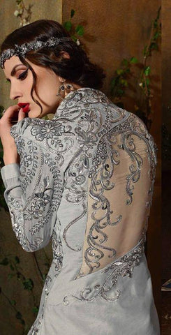 Jacquard Net Embroiderd Top With Gown Type Bottom Dress With Dupatta