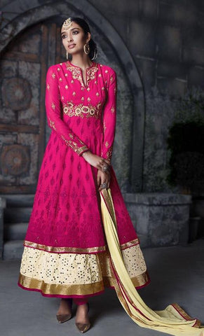Pink,Georgette,Party wear designer anarkali suits