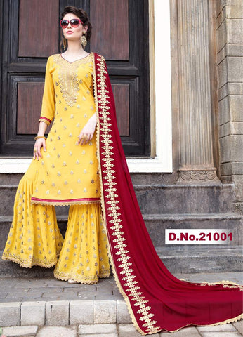 Yellow Georgette Sharara Salwar Suit With Red Dupatta