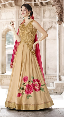 Beige and Pink Embroidery Worked Anarkali Suit With Dupatta