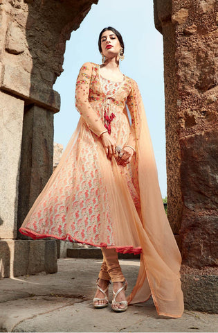 Peach  ,cotton,Straight designer party wear suits