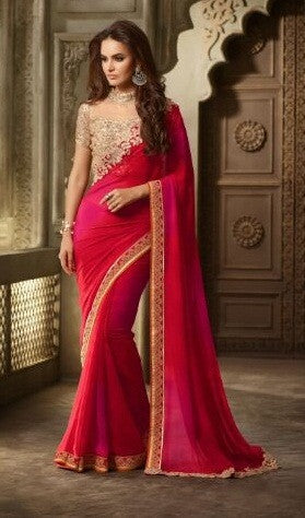 Red , Pink,Georgette,Party wear designer saree