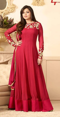 Red,Georgette,Heavy designer party wear suits