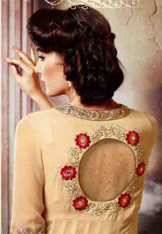 Designer red and beige embroidered long semi stitched suits