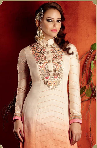 Heer shaded beige and pink pute cotton satin salwar kameez